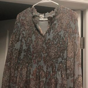 Anthropologie Blue and Pink Paisley Flowing Blouse